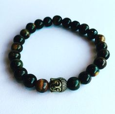 Heren tijgeroog buddha kralen armband.  Mannen, man, men, for him, beads, bracelet