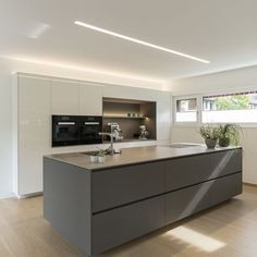 Detached house # Feldkirch # modern wood construction # modern architecture # flat roof # rich … - Home Page Feldkirch, Modern Kitchen Design, Interior Design Kitchen, Home Decor Kitchen, Kitchen Living, Kitchen Island Lighting, Flat Roof, Cuisines Design, Open Plan Kitchen