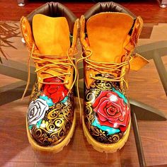 Customised Rose Timberland Boots Dope Footwear Sneakers Trainers Fashion