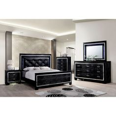 Furniture of America Bellanova Bedroom Set in Black