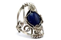 Wire Wrap Cocktail Ring with Lapis Lazuli stone  by HyppieChic, $53.00