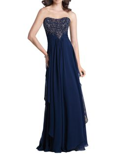 navy chiffon strapless floor length a-line embroidered bodice mother of the bride dress