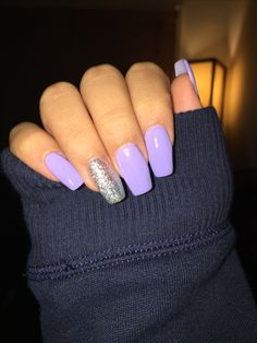 Lavender nails with glitter