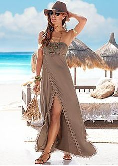 Take a walk on the beach in this strapless beauty! Venus strapless maxi with Ven., Beach Outfits, Take a walk on the beach in this strapless beauty! Venus strapless maxi with Venus embellished sandal. Cruise Attire, Cruise Outfits, Cruise Clothes, Cruise Wear, Cruise Vacation, Casual Summer Outfits, Casual Dresses, Beach Outfits, Outfit Beach