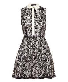 Take a look at the Black Lace Collared Sleeveless Dress on #zulily today!