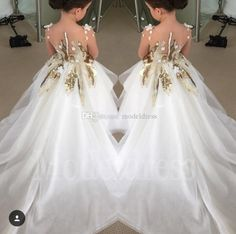 2017 New Fashion Flower Girls Dresses For Weddings Long Sleeves Gold Sequins Long Pageant Party Gowns First Communion Dress For Child Teens Cheap Flower Girl Dress Cheap Flower Girl Dresses Under 30 From Modeldress, $59.06| Dhgate.Com