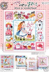"""""""Alice in Wonderland"""" cross stitch kit - Floss Color 22 - Stitch count W103count × H103count - Fabric Size(cm) 45 × 35  - Brant New Kit Contains SODAstitch's original design(Manufactured in Korea) A piece of 14 count Korean white Aida More than enough presorted DMC cotton floss One stitching needle made in Germany  - An instruction easy to follow#Sodastitch #Asia Theme cross stitch #Korea cross stitch #Fairy Tale #alice in winderland"""