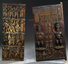 Africa | Two doors from the Dogon people of Mali || Wood; carved depicting figures and geometric designs in relief