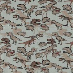 Bomull grå m ville dinosaurer