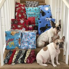 My amazing talented and wonderful friend Veronica @bowser_clan have donated a variety of handmade blankets pillows bandanas stockings and some adorable socks. These awesome items will be added to the raffle for the 3rd Annual Reindeer Romp Christmas French Bulldog Rescue Network @frenchbulldogrescue Fundraiser Event on December 6. Whoever wins these is going to be so incredibly lucky!!!  by amymonkey72