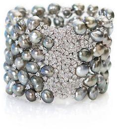 gump's keshi pearl +diamond bracelet
