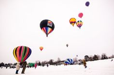 Hudson, WI --- FEBRUARY -- You'll be blown away by this Wisconsin hot air balloon festival.