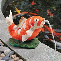 KOI FISH STATUE Water Feature Fountain Sculpture Ornament Garden Pond Patio Lawn