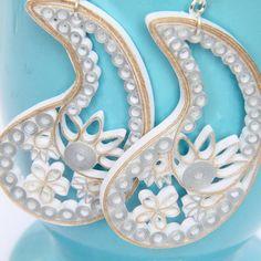 Save 30% with coupon code CIJ30 for this month's Christmas in July sale!! Paisley Eco Wedding Earrings Gold and Silver on by HoneysHive, $65.00