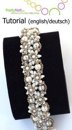 Beading Pattern tutorial bracelet Edelweiss by PrettyNett on Etsy, €10.00 SuperDuos: 10g Drop Beads (3,4 mm): 2 g Seed Beads 11/0: 3 g Seed Beads 15/0: 1g Round Pearls 6 mm: ca. 16 by luvmypets