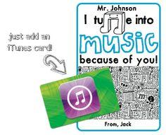 iTunes card for a Band or Music Teacher! Awesome! #music #musicteacher #band