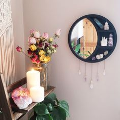 We make crystal shelves in all different shapes and sizes incorporating spiritual symbols and sacred geometry to allow you to create a magical sacred space in your home! Crystal Room Decor, Crystal Bedroom, My New Room, My Room, Moon Mirror, Crystal Shelves, Crystals In The Home, Mirror With Shelf, Oak Color