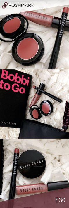 New Bobbi Brown Makeup New Bobbi to go 4 items includes; 1) Rose Sugar mini lip gloss, 2) Rose mini Pot Rouge for lips and Cheeks, 3) Pink Mauve mini lip lines, and 4) Black Cosmetics case. Bobbi Brown Makeup