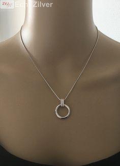Zilveren collier met cirkel cz hanger New Bling - ZilverVoorJou Echt 925…