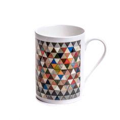 China Mug harlequin bone china mug multi geometric secret santa... ($19) ❤ liked on Polyvore featuring home, kitchen & dining, drinkware and bone china