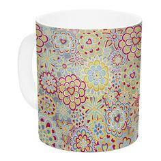 East Urban Home My Happy Flowers in by Julia Grifol 11 oz. Ceramic Coffee Mug
