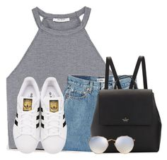 """""""Feeling really simple today"""" by victoriaann34 ❤ liked on Polyvore featuring RE/DONE, adidas Originals, Kate Spade and Ray-Ban"""