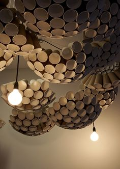 Paper cups on the ceiling in A-CH's Scrumptious Reads pop-up. Brisbane. Australia