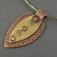 Copper and Brass Mixed Metal Modern Shield Pendant | LPJewelry - Jewelry on ArtFire