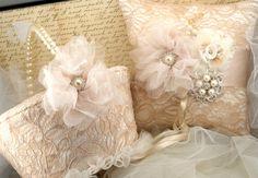 Romantic vintage ring bearer and flower girl basket