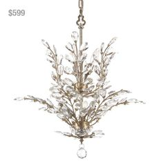 "Antique Silver Crystal Upside Down Chandelier from Laura of Pembroke. To order, email sales@lauraofpembroke.com. LOP1N (20""D x 23""H). Our Price: $599"