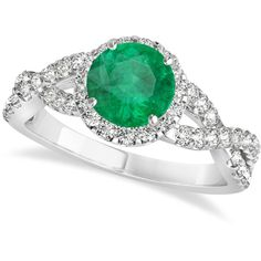 Allurez Emerald & Diamond Twisted Engagement Ring 14k White Gold... ($3,945) ❤ liked on Polyvore featuring jewelry, rings, white gold, emerald ring, diamond rings, infinity rings, diamond engagement rings and emerald diamond ring