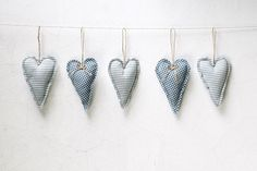 Set of 5 Blue Hearts Ornaments Home decor by MyHouseOfDreams2, $25.00