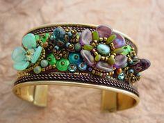 Fleur, Bracelet manchette KIT vert