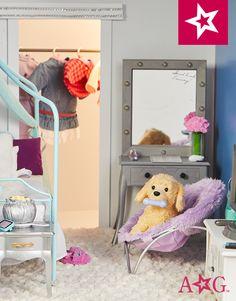 #TeamAGLife #AGFairwayPlace American Girl House, American Girl Doll Room, American Girl Doll Pictures, American Girl Crafts, American Girl Clothes, American Girls, Ag Doll House, Ag Doll Crafts, Journey Girls