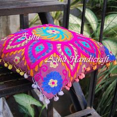 16'' Indian Cotton Embroidery Suzani Design Pom Pom Decor Cushion Pillow Cover 4 #AshuHandicraft #ArtDecor