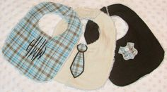 Monogrammed Personalized Bibs Gift Set of 3 Embroidered Preppy Newborn Boy Chenille Baby Bibs. $22.50, via Etsy.