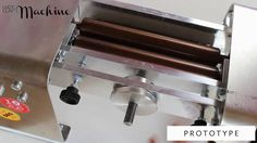 Thickness / roller settings of Lucy Clay Machine. The gap is set by Aluminium wheel. Two black supporting screws prevent the roller frame from sagging under pressure.   www.lucyclaymachine.com