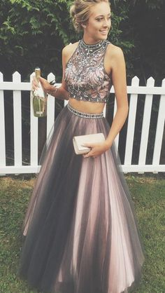 2017 prom dresses, two piece prom dress, party dresses, gradutation party dress