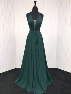 Spaghetti Strap A Line Dark Green Prom Dresses Deep V-neck Military Ball  Gowns APD3395 a06082eafcc9a