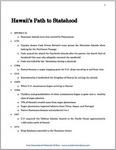 an introduction to the history and geography of hawaii Hawaii state history research project no prep and stress free it makes a great addition to your american history or usa geography unit.