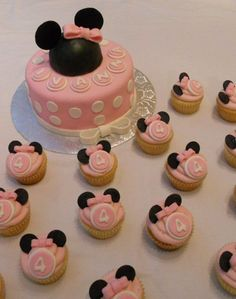 Pink and White Minnie Mouse Cake and Cupcakes! by BearHeartBaking, via Flickr