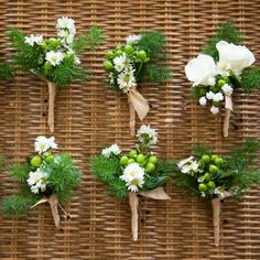Simple white and green boutonnieres Daisy Wedding, Corsage Wedding, Wedding Bouquets, Daisy Boutonniere, Boutonnieres, Wedding Flower Inspiration, Wedding Ideas, Wedding Stuff, Best Wedding Registry
