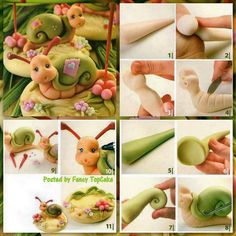 Snail fondant cake or clay jar topper picture tutorial