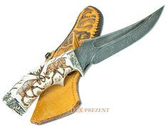 """Нож из дамасской стали """"Лоси"""" - на рукоятке вырезан медведь купить в интернет магазине """"Люкс Презент"""""""