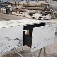 Lyra Double is a natural stone vanity with two sinks. The unit has pure lines and forms, and it is a floating unit entirely covered with natural stone. The veins of this beautiful floating countertop surround the entire surface continuously. We can create natural stone fronts which can be seen from five sides without the disadvantage of being overweight.⠀Big / Light / Fast / Strong / Removable / Natural⠀⠀ #furniture #interiordesign Natural Stones, Countertops, Marble, Natural Furniture, Vanity, Pure Products, Canning, Interior Design, Sinks