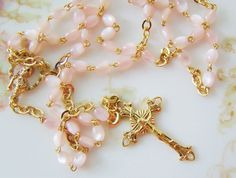 Vintage Pink Moonstone Bead Rosary Gold Tone by Alyssabeths