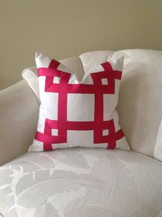 Fuchsia and White Ribbon Embellished Pillow Cover