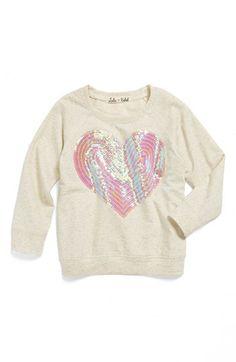 Lala Rebel Sequin Heart Sweatshirt (Toddler Girls) available at #Nordstrom