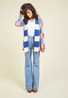 Every time you slip into this checkered cardi, the edge you subtract from the chill directly adds to your style! Part of our ModCloth namesake label, this cobalt, white, and earthy red layer boasts an open-front silhouette with an optional waistline tie, giving a cuddly-chic vibe to any casual ensemble.