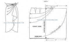 Sarong skirt with cascade